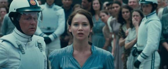 Movie Still: Katniss Voluntieers