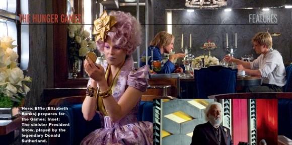 Empire Magazine Photo: Effie, Haymitch, Peeta and President Snow